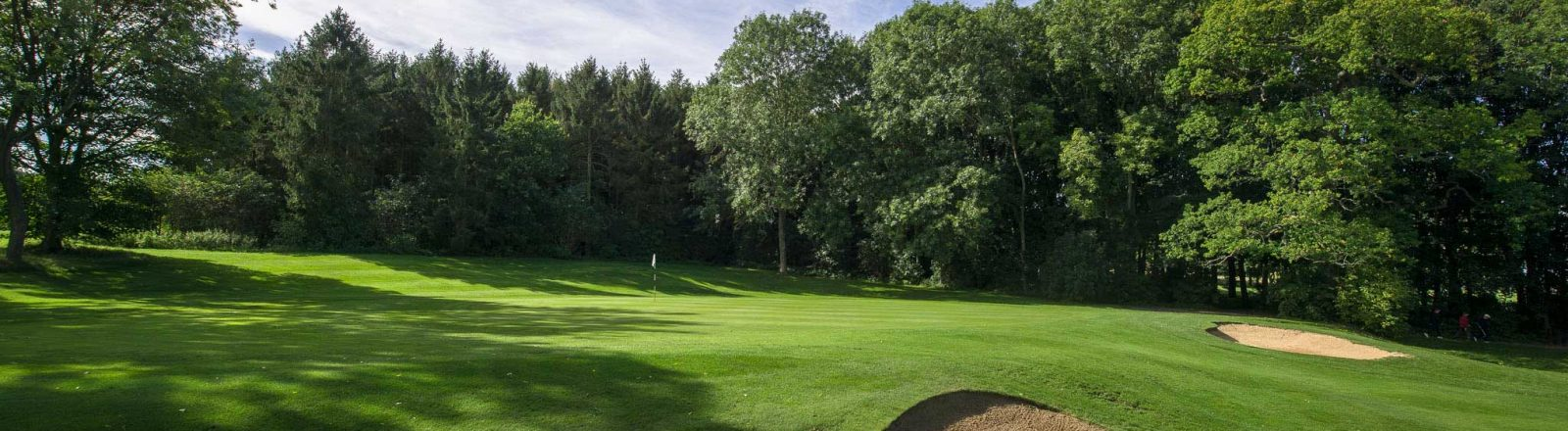 Redbourn Golf Club sloping green with bunker